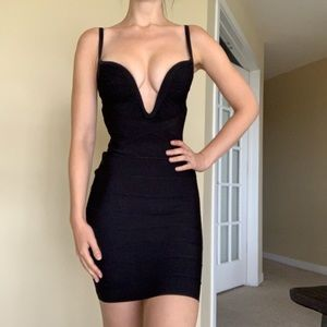 Herve Leger black bandage cocktail dress XS